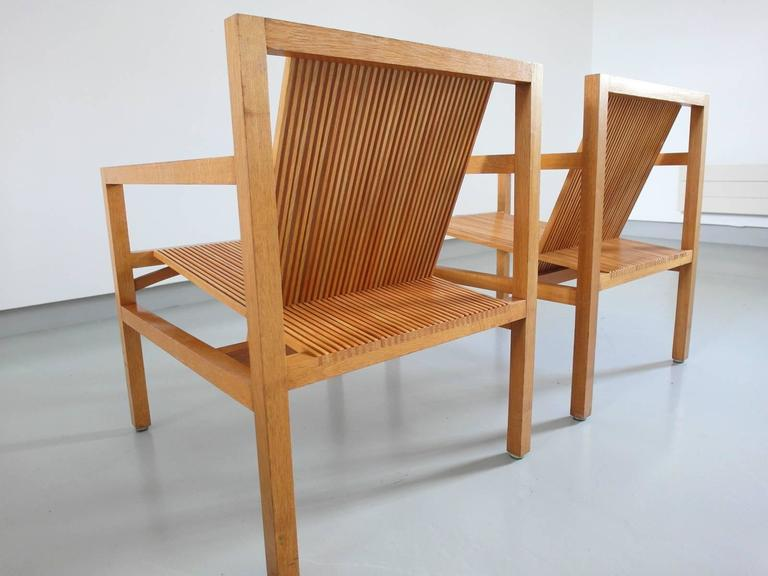 Ruud Jan Kokke Pair of Easy Chairs in Oak and Ash, Holland, 1984 3