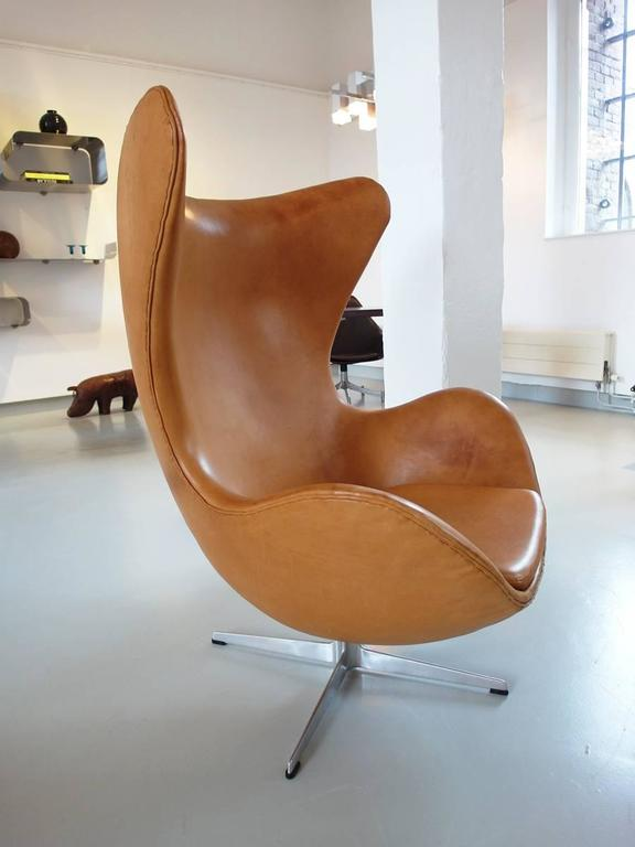 Egg Chair Cognac.Cognac Leather Egg Chair By Arne Jacobsen For Fritz Hansen