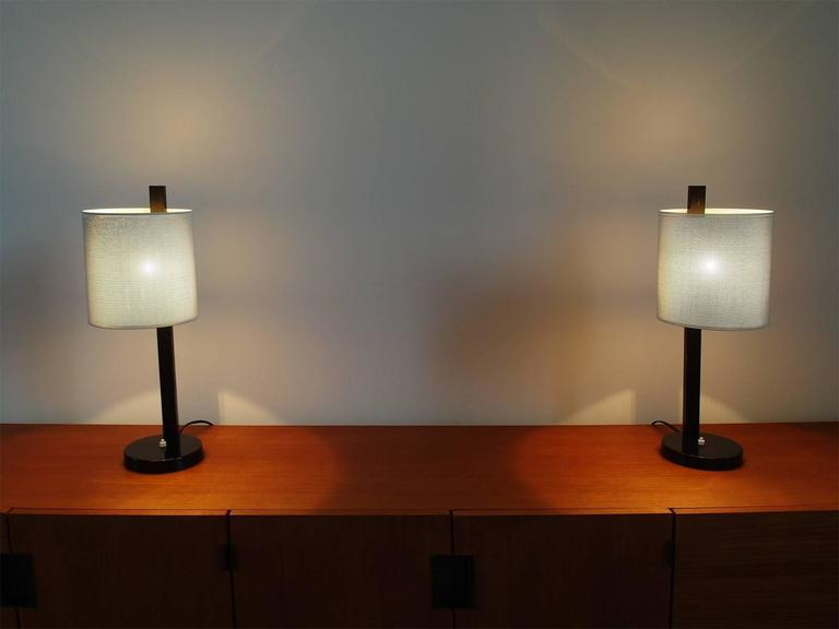 Lacquered Rare Pair of French Mathieu Mategot Style Midcentury Modern Table Lamps For Sale