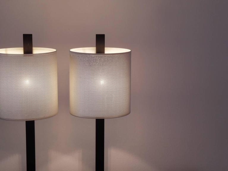 Rare Pair of French Mathieu Mategot Style Midcentury Modern Table Lamps For Sale 1