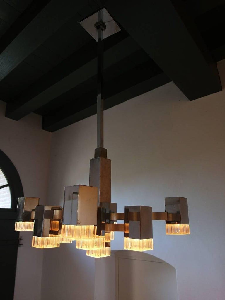 Sciolari Chandelier with 13 Multi-Level Metal and Lucite Lights, Italy, 1970s For Sale 1