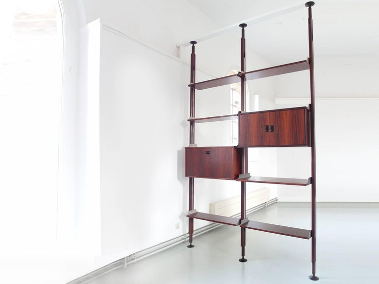 Mid-Century Modern Stildomus Shelving System Library Executed in Caviuna Wood, Italy, circa 1960 For Sale