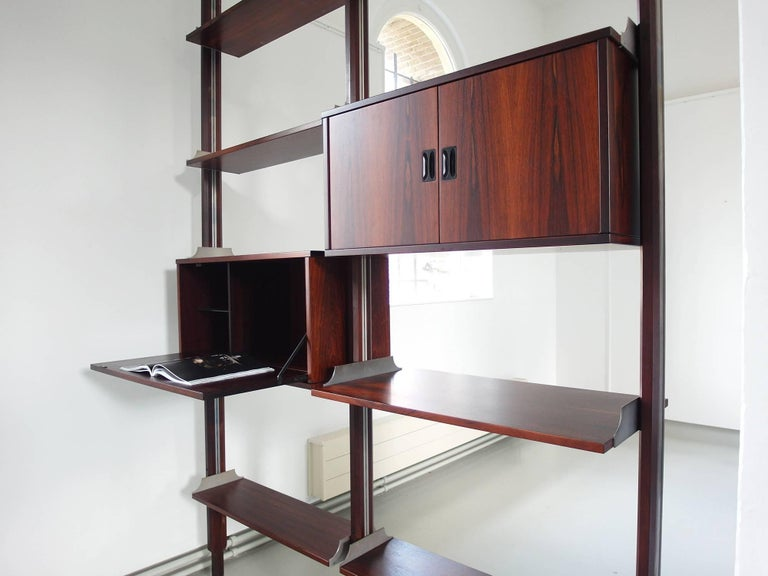Stildomus Shelving System Library Executed in Caviuna Wood, Italy, circa 1960 For Sale 4