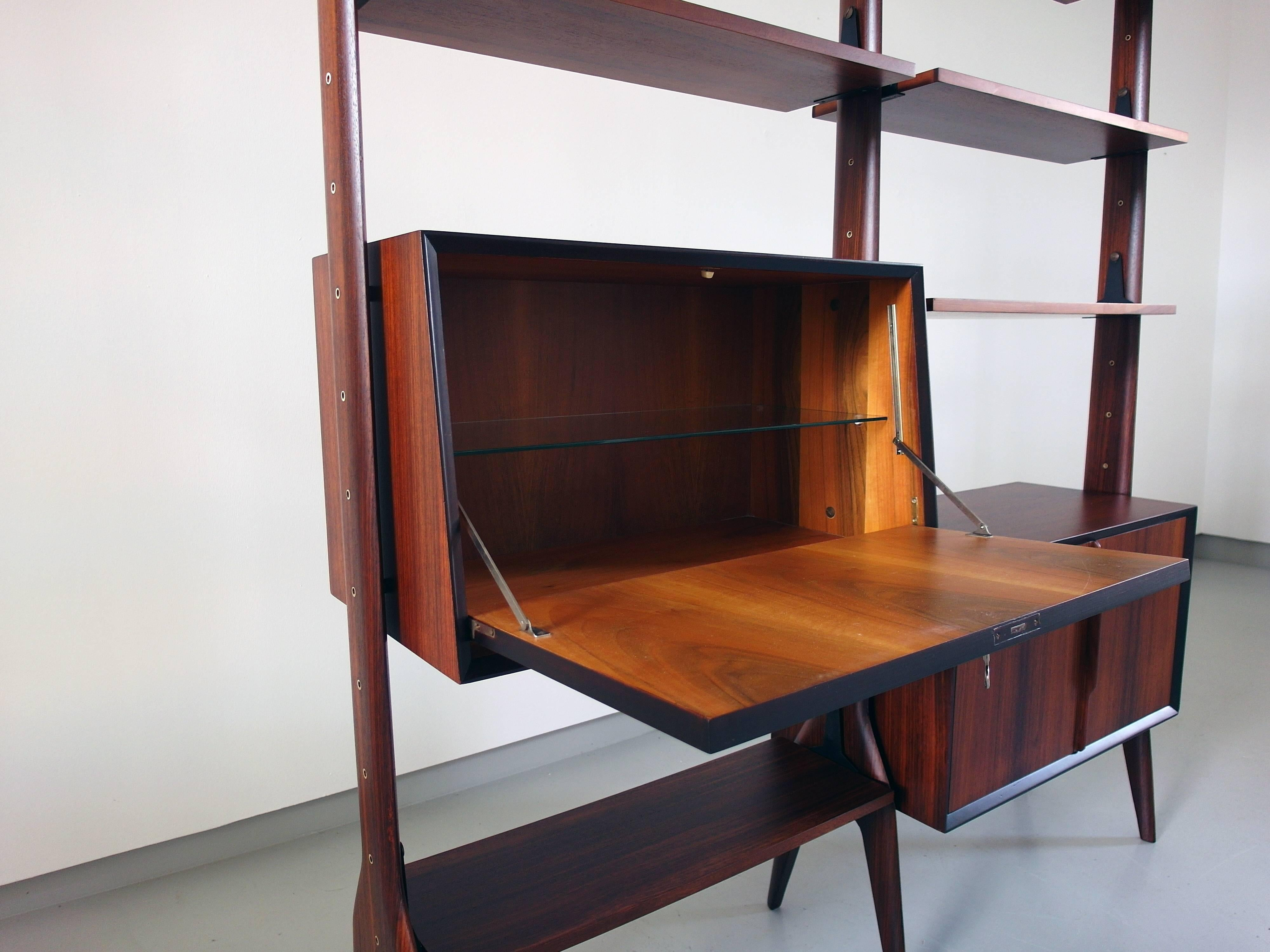 Italian Free Standing Shelving Unit With Sculptural Organic Details, Ca