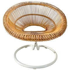 Rare Rattan Swivel Chair by Janine Abraham and Dirk Jan Rol, France ca 1960