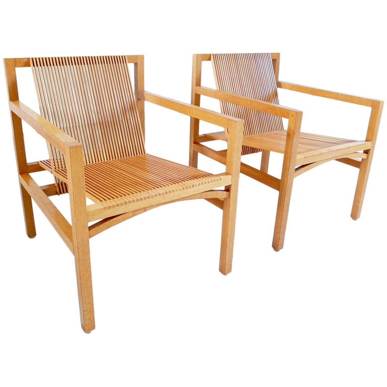 Ruud Jan Kokke Pair of Easy Chairs in Oak and Ash, Holland, 1984