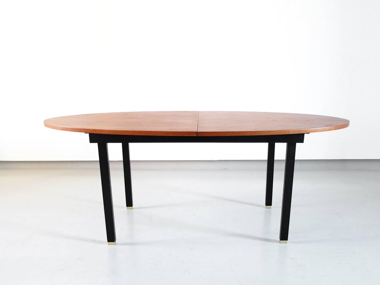 Mid Century Modern Extendable Oval Dining Table With Teak Top And Br Feet Belgium