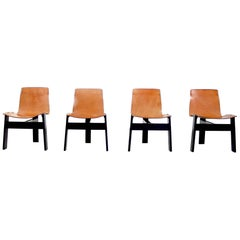 Angelo Mangiarotti Original Tre Three Dining Chairs in Cognac Leather, Italy