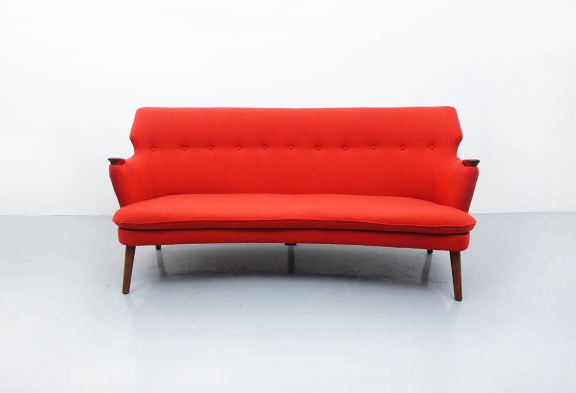 Danish Curved Back Sofa By Kurt Olsen For Slagelse