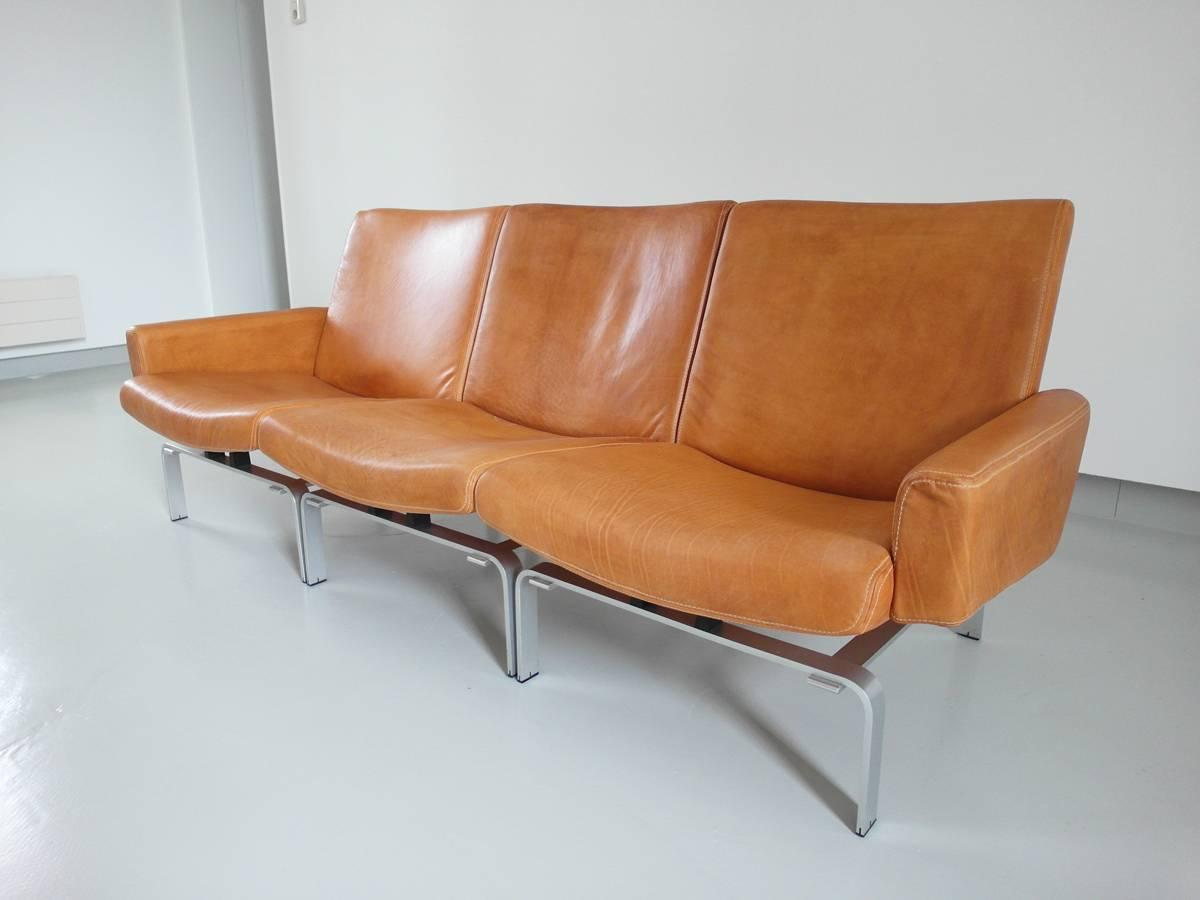 exclusive j rgen h j leather and aluminium sofa for niels vits e at 1stdibs. Black Bedroom Furniture Sets. Home Design Ideas