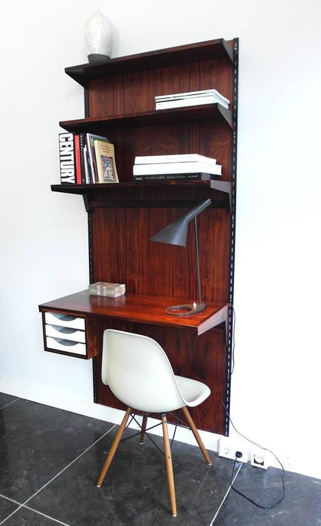Rosewood wall-mounted shelving unit with desk by Kai Kristiansen for FM  Mbler 3