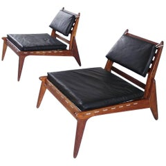 Sculptural Pair of Black Leather Hunting Chairs in Oak, Germany, 1950s