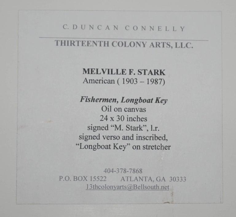 Hand-Painted Melville Stark Midcentury Oil Painting of Fishermen