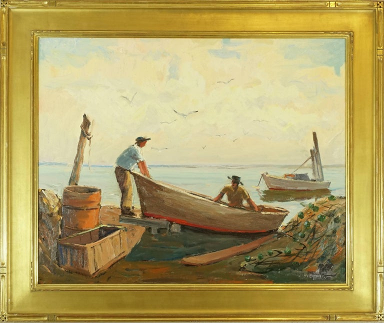 Melville F Stark (American 1903-1987) Better know as Mel Stark. Light and colorful oil on canvas of fisherman bringing in the catch on Longboat Key with nets at the dock. Please also consider our other Stark and several Emile Albert Gruppe paintings