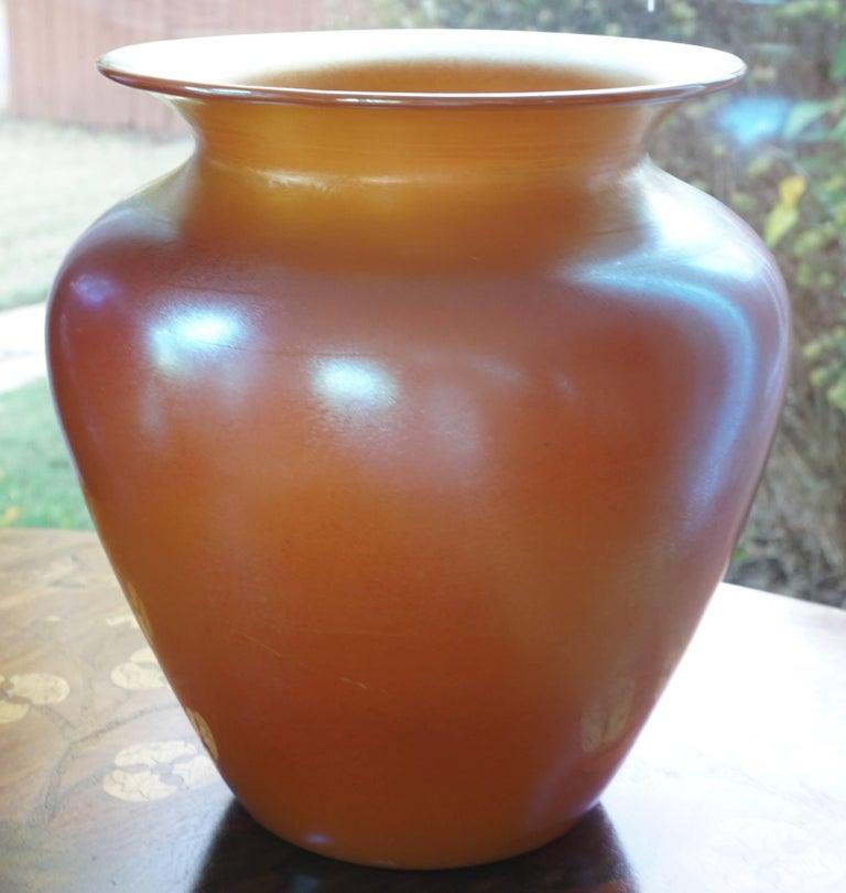 Art Nouveau Durand Irredescent Art Deco Orange and Gold Glass Vase For Sale
