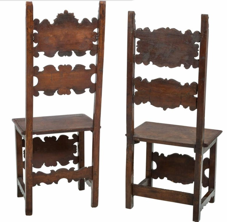 Renaissance Revival 17th Century Pair of Lombardian Italian Swiss Carved Chairs For Sale