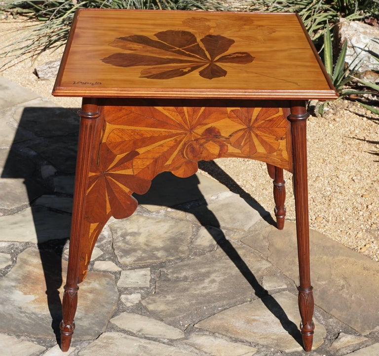Louis Majorelle Signed French Art Nouveau Game Table, circa 1900 In Good Condition For Sale In Dallas, TX