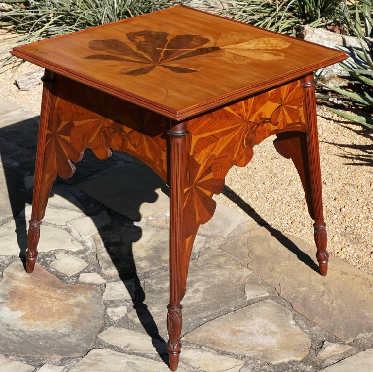 Marquetry Louis Majorelle Signed French Art Nouveau Game Table, circa 1900 For Sale