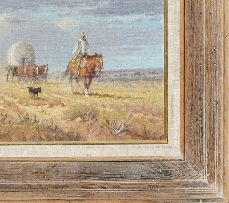 "Hand-Painted G. Harvey Cowboys ""Crossong the Texas Plains""  Early Painting 1968 For Sale"
