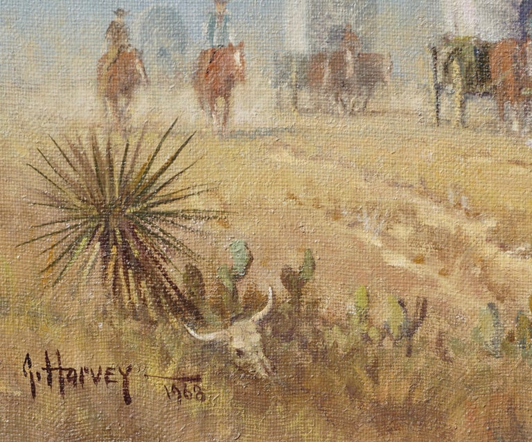 "G. Harvey Cowboys ""Crossong the Texas Plains""  Early Painting 1968 In Excellent Condition For Sale In Dallas, TX"