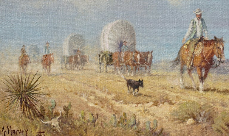 "American G. Harvey Cowboys ""Crossong the Texas Plains""  Early Painting 1968 For Sale"