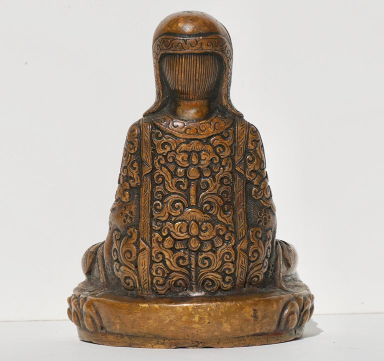 15th-16th Century Tibetan Copper Alloy Bronze Lama Buddha with Silver Inlay In Good Condition For Sale In Dallas, TX