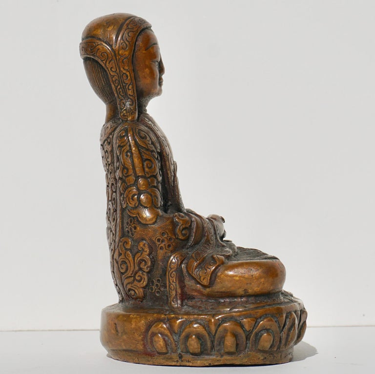 15th-16th Century Tibetan Copper Alloy Bronze Lama Buddha with Silver Inlay For Sale 1