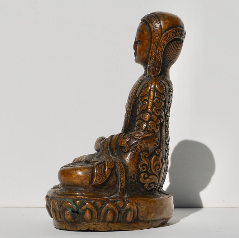 15th-16th Century Tibetan Copper Alloy Bronze Lama Buddha with Silver Inlay For Sale 2