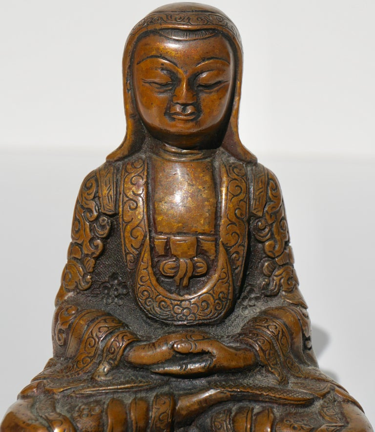 18th Century and Earlier 15th-16th Century Tibetan Copper Alloy Bronze Lama Buddha with Silver Inlay For Sale