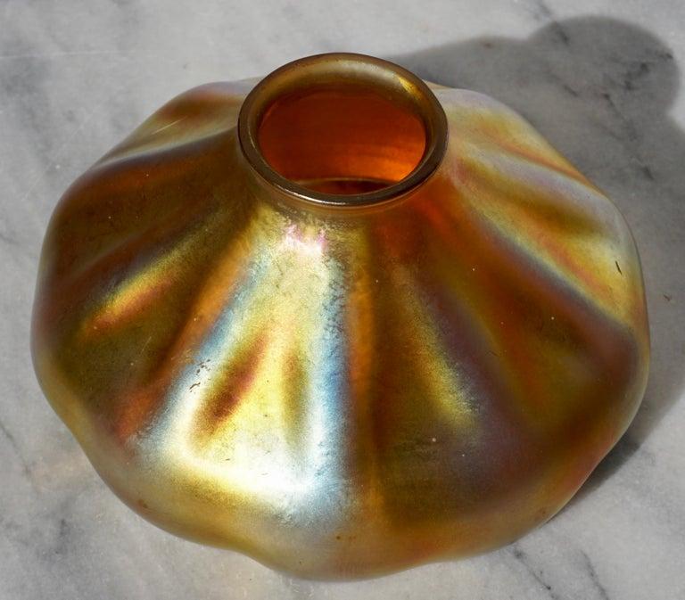 Cast Tiffany Studios Bronze and Favrile Harp Table Desk Lamp For Sale