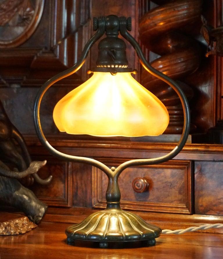 Tiffany Studios Bronze and Favrile Harp Table Desk Lamp For Sale 2