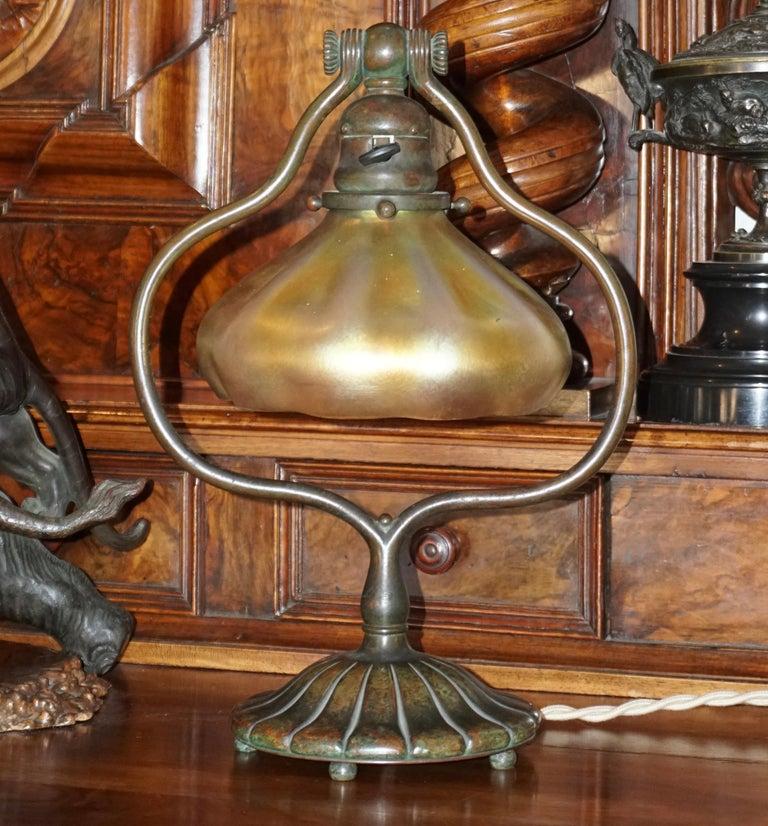 Art Nouveau Tiffany Studios Bronze and Favrile Harp Table Desk Lamp For Sale