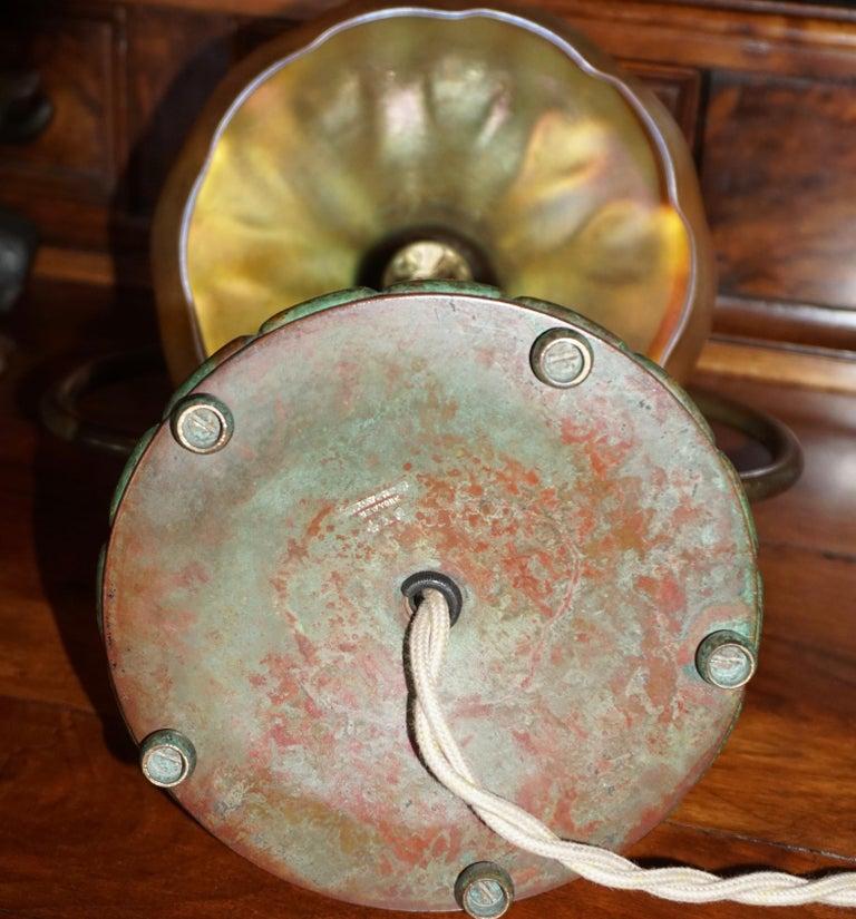 Tiffany Studios Bronze and Favrile Harp Table Desk Lamp For Sale 4