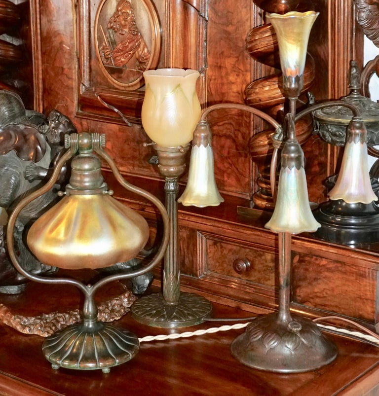 Tiffany Studios Bronze and Favrile Harp Table Desk Lamp For Sale 5