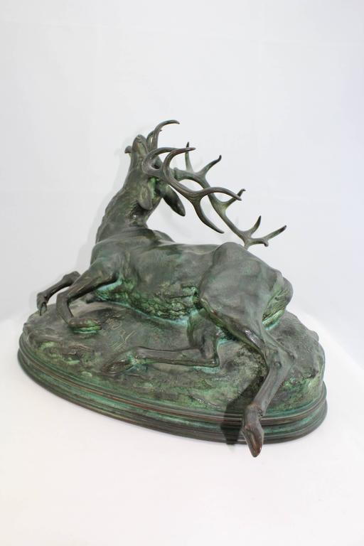 Beaux Arts Louis Vidal, Bronze of a Wounded Stag, Barye, circa 1863 For Sale