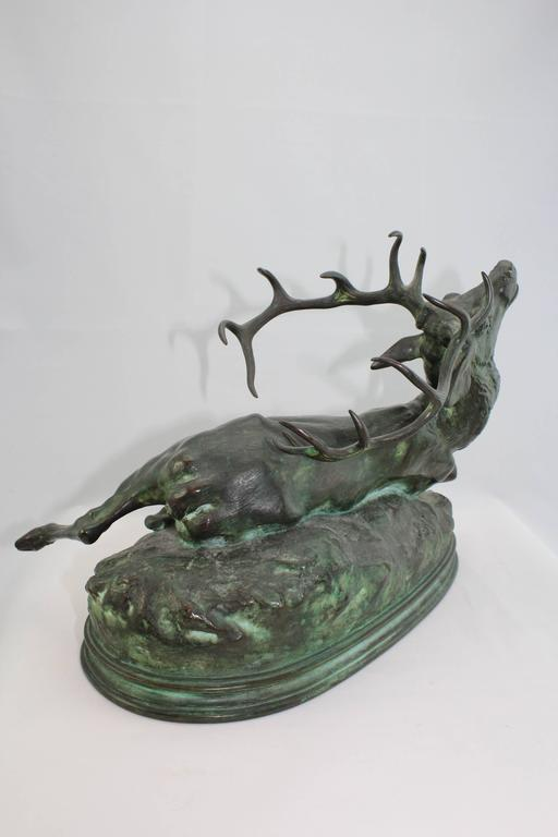 French Louis Vidal, Bronze of a Wounded Stag, Barye, circa 1863 For Sale
