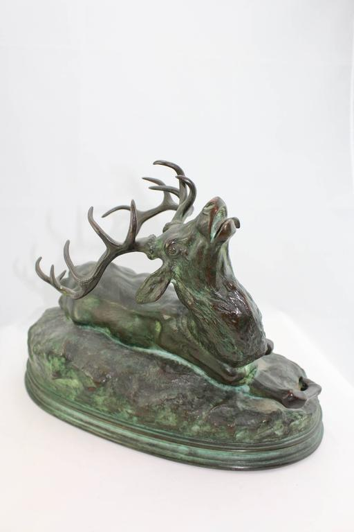 Cast Louis Vidal, Bronze of a Wounded Stag, Barye, circa 1863 For Sale