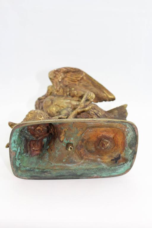 Mid-19th Century Paul Edouard Delabrierre Animalier Gilt Bronze Bird, circa 1860 For Sale