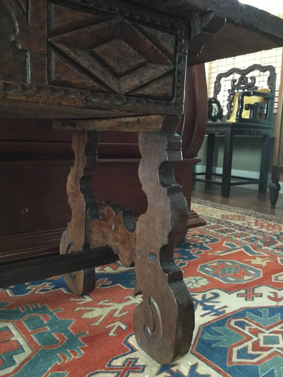 Hand-Carved Spanish 18th Century Mahogany Refectory Side Table