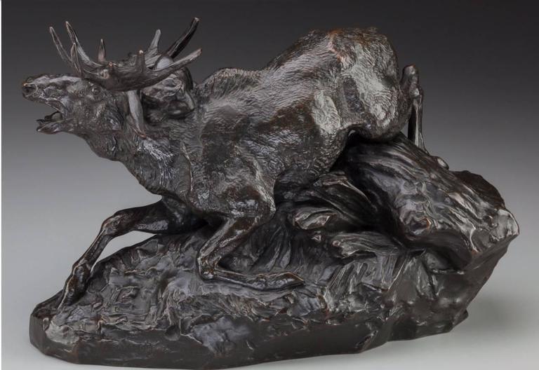 Beaux Arts Antoine-Louis Barye Bronze Elan Surpris Par Un Lynx F. Barbedienne