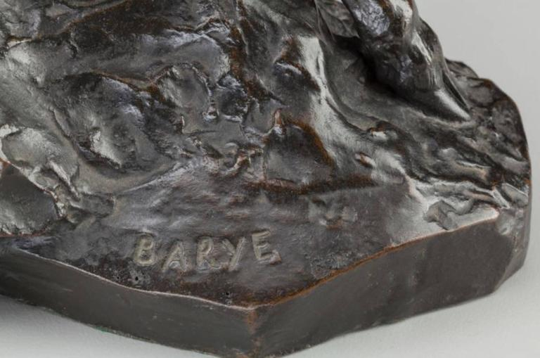 French Antoine-Louis Barye Bronze Elan Surpris Par Un Lynx F. Barbedienne