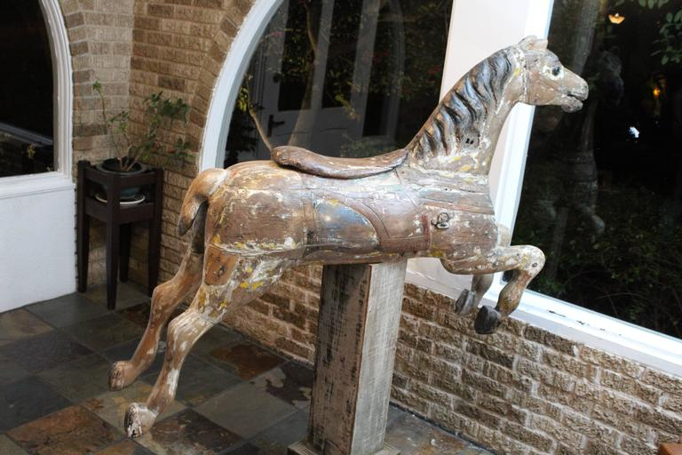 Hand-Carved Large 19th Century Parker American Carousel Horse For Sale