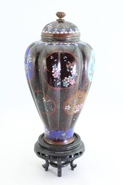 Cloissoné Antique Meiji Japanese Cloisonne Vase, circa 1890   For Sale