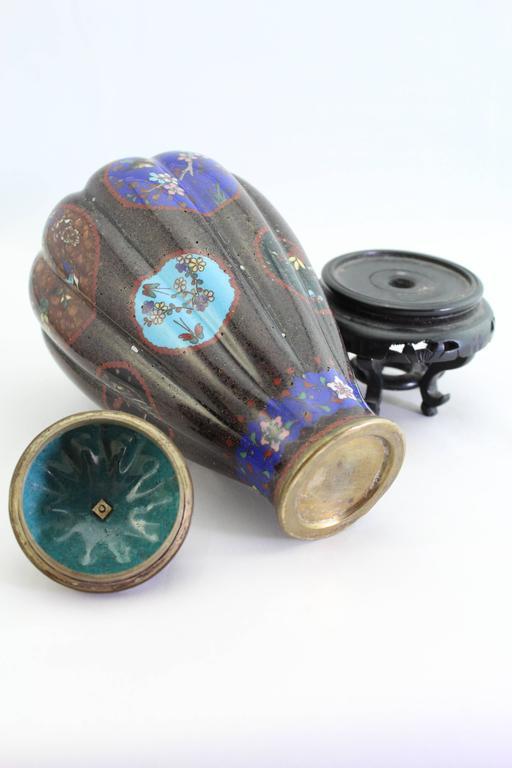 Bronze Antique Meiji Japanese Cloisonne Vase, circa 1890   For Sale