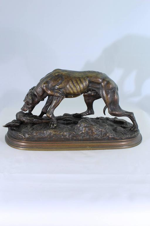 French Jules Moigniez Bronze Sculpture of a Pointer and Pheasant, 19th Century For Sale