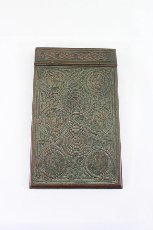 American Tiffany Studios Bronze Ink Well, Pen Trey and Note Pad Zodiac Desk Set