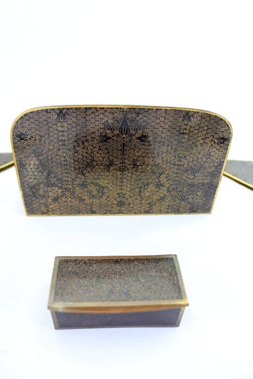 Cloissoné Chinese Cloisonné Ten-Piece Desk Set, circa 1900