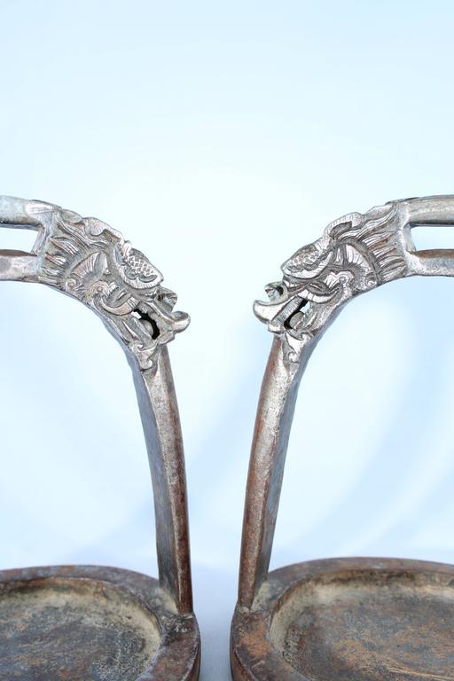 Chinese Export 19th Century Tibetan Dragon Iron Horse Stirrups