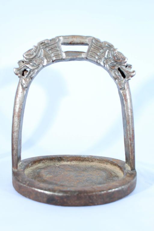 19th Century Tibetan Dragon Iron Horse Stirrups In Good Condition In Dallas, TX