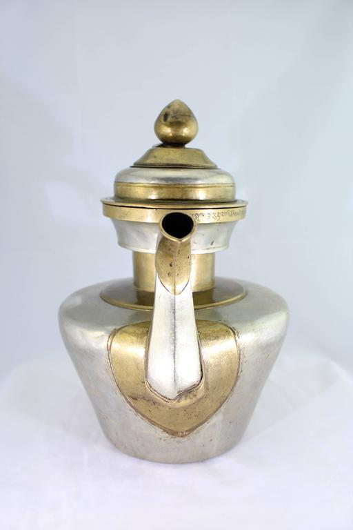 Chinese Export 19th Century Tibetan Metallic Silver and Brass Prayer Teapot
